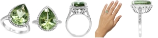 EFFY Collection EFFY® Green Amethyst (7-1/20 ct. t.w.) & Diamond (1/3 ct. t.w.) Statement Ring in 14k White Gold
