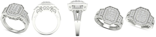 Macy's Diamond Octagon Halo Cluster Filigree Statement Ring (1 ct. t.w.) in 10k White Gold
