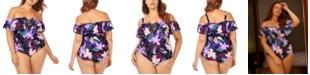 Raisins Curve Trendy Plus Size Juniors' Lagide Printed Cubana One-Piece Swimsuit
