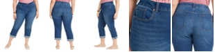 Style & Co Plus Size Tummy-Control Cropped Cuffed Jeans, Created for Macy's