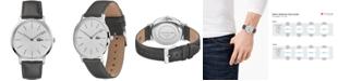 Lacoste Men's Moon Gray Leather Strap Watch 40.5mm