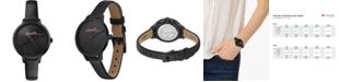 Lacoste Women's Swiss Cannes Urban Black Leather Strap Watch 34mm