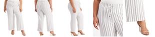 Calvin Klein Plus Size Striped Wide-Leg Pants
