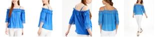 BCX Juniors' Crochet-Trimmed Off-The-Shoulder Top