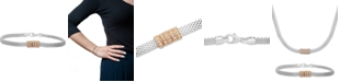 Macy's Cubic Zirconia Ring Mesh Link Bracelet in Sterling Silver & Gold-Plate