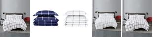 Truly Soft Printed Windowpane 3 Piece Comforter Set, King