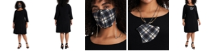 MSK Plus Size Shift Dress & Face Mask Necklace
