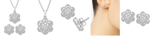 Macy's 2-Pc. Diamond Scallop Pendant Necklace & Matching Stud Earrings (1/6 ct. t.w.) in Sterling Silver