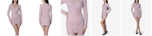 Ultra Flirt Juniors' Ruched-Front Bodycon Dress