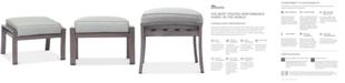 Furniture Tara Aluminum Outdoor Ottoman, with Sunbrella® Cushion, Created for Macy's