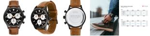 Movado Men's Swiss Chronograph Heritage Series Calendoplan Cognac Leather Strap Watch 43mm