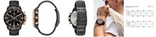 Bulova Men's Chronograph Marine Star Black Stainless Steel Bracelet Watch 45mm