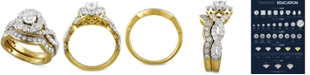 Macy's Diamond Halo Interlocking Bridal Set (2 ct. t.w.) in 14k Gold