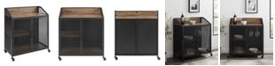 """Walker Edison 33"""" Industrial Bar Cabinet w/ Mesh - Rustic Oak"""