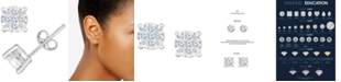 TruMiracle Diamond Cluster Stud Earrings (1/2 ct. t.w.) in 14k White Gold