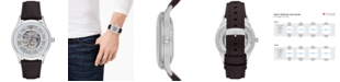 Emporio Armani Men's Automatic Dark Brown Leather Strap Watch 43mm
