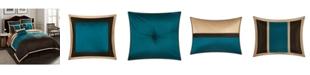 Nanshing Phoebe 8-Piece Comforter Set, Brown/Aqua, King