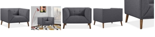 Armen Living Hudson Button-Tufted Sofa Chair