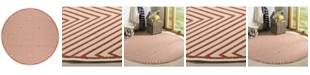 """Safavieh Linden Red and Creme 6'7"""" x 6'7"""" Round Area Rug"""