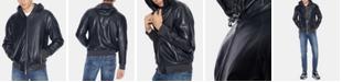 A|X Armani Exchange Men's Faux-Leather Hooded Jacket