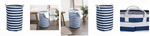 Design Imports Laundry Hamper Stripe, Round
