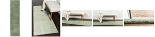 "Bridgeport Home Salon Solid Shag Sss1 Sage Green 2' 7"" x 10' Runner Area Rug"