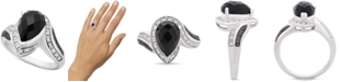 Macy's Onyx (10 x 7mm) & Diamond (1/10 ct. t.w.) Statement Ring in Sterling Silver