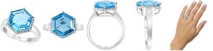 EFFY Collection EFFY® Blue Topaz (5-1/3 ct. t.w.) & Diamond (1/8 ct. t.w.) Statement Ring in 14k White Gold