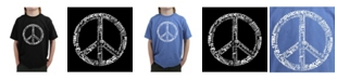 LA Pop Art Big Boy's Word Art T-Shirt - The Word Peace In 77 Languages