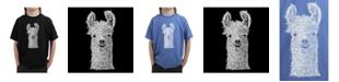 LA Pop Art Big Boy's Word Art T-Shirt - Llama