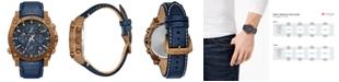 Bulova Men's Champlain Precisionist Blue Leather Strap Watch 46.5mm