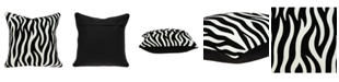 Parkland Collection Simba Transitional Black and White Zebra Pillow Cover With Down Insert