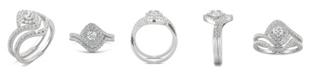 Charles & Colvard Moissanite Halo Bridal Set 7/8 ct. t.w. Diamond Equivalent in 14k White Gold