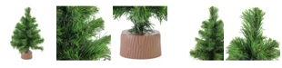 """Northlight 12"""" Mini Pine Artificial Christmas Tree in Faux Wood Base - Unlit"""