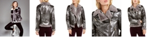 Tommy Hilfiger Faux-Shearling Metallic Moto Jacket, Created For Macy's