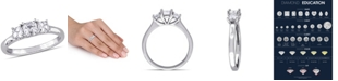 Macy's Asscher- Cut Certified Diamond (1 ct. t.w.) 3- Stone Engagment Ring in 14k White Gold