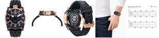CT Scuderia Men's Saturno Black Perforated Leather Strap Watch 44mm