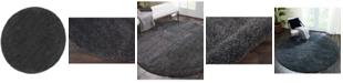 "Long Street Looms Cali Shag CAL01 Charcoal 7'10"" Round Area Rug"