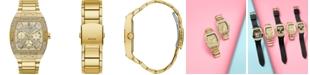 GUESS Men's Gold-Tone Stainless Steel Bracelet Watch 43x51mm