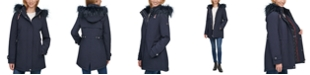 Tommy Hilfiger Faux-Fur Trim Hooded Raincoat