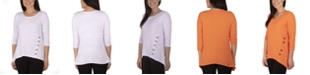 NY Collection Women's Plus Size Button Detail Ribbed Tunic