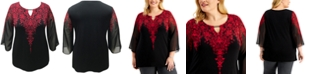 JM Collection Plus Size Printed Elbow-Sleeve Keyhole Top, Created for Macy's