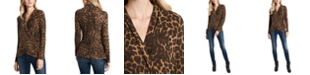 1.STATE Luxe Animal-Print Cross-Front Top