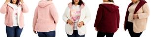 FULL CIRCLE TRENDS Trendy Plus Size Reversible Fleece Cardigan