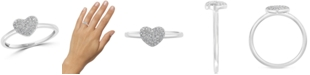 EFFY Collection EFFY® Diamond Pavé Heart Promise Ring (1/8 ct. t.w.) in Sterling Silver