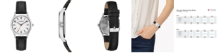 Caravelle  Women's Black Leather Strap Watch 30mm