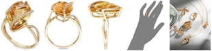EFFY Collection Gemma by EFFY Marquise-Cut Citrine (8-1/2 ct. t.w.) and Diamond (1/8 ct. t.w.) Wrap Ring in 14k Gold