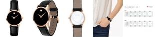 Movado Women's Swiss Museum Classic Black Leather Strap Watch 28mm