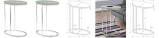 Monarch Specialties Chrome Metal Ocal Edgeside Accent Table in Grey Cement