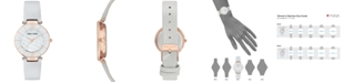 Anne Klein Women's Light Gray Leather Strap Watch 32mm